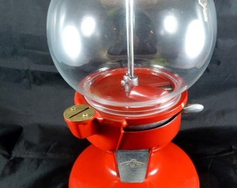 Vintage Red Carousel Gumball Machine 1900's REPLICA - Coin Operated