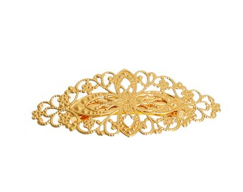 Set of 2 hair clips Bobby pins gold filigree 80x35mm - Creation - jewelry