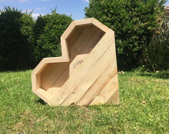 Wood Heart-Shaped Planter Box for Indoor/Outdoor Use