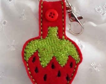 Strawberry key fob a cheerful bright way to find your keys.