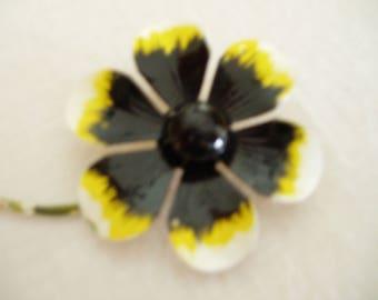 Vintage Black and Yellow Metal Flower Brooch