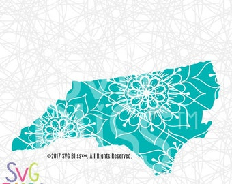North Carolina SVG, Mandala, State, Doodle, Cute, USA,  Cricut & Silhouette Compatible Cut File, DXF, Hand Drawn Design, Digital Download