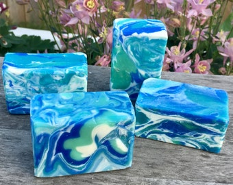 Soap— Cooler Than Cool.  Essential oil.  Peppermint. Cold Process. Shea Butter.  Avocado oil.  Coconut oil.