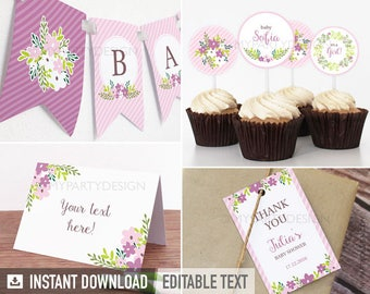 Floral Baby Shower Party Pack - Girl Pink Stripes Flowers - INSTANT DOWNLOAD - Printable PDF with Editable Text