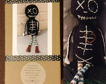 Knit your own Jasper the Skeleton Kit DIY with pattern knitting needles, yarn, stuffing. Easy unique geek knitter gift, do it yourself craft