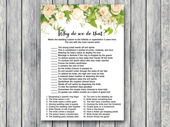Why Do We Do That Bridal Shower Game Wedding Tradition Quiz Bridal Shower Game Bridal Shower Activity Printable Game Th