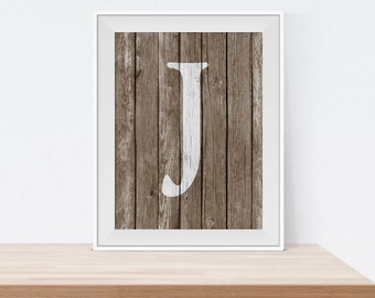 Custom Letter Print - Letter J Print - Monogram Art - Rustic Monogram - Wood Monogram - Initial Print - Printable Wall Art - Rustic Wall Art