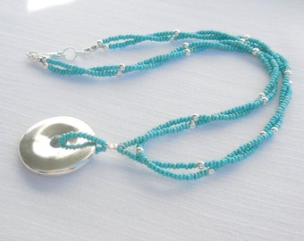 Turquoise seed bead and sterling silver necklace
