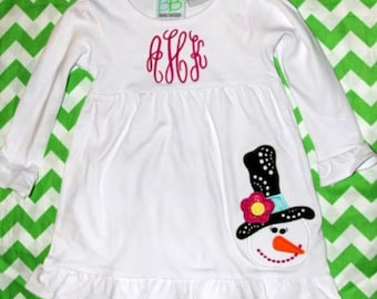 Girls Snowlady White Cotton Dress with Monogram