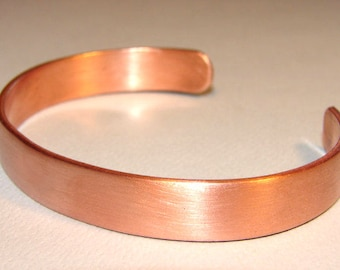 Copper Cuff Bracelet with Brushed Finish with Custom Engraving on Inside - BR242