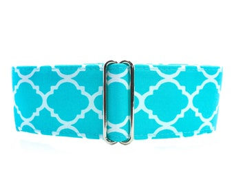Teal Martingale Dog Collar, 1.5 Inch Martingale Collar, Greyhound Martingale Collar, Teal Dog Collar, Aqua Dog Collar, 1.5 Inch Dog Collar