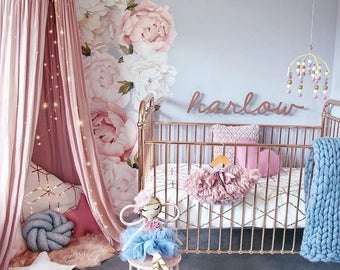 Girls Nursery Decals - Baby Girls Decor - Baby Girls Room - Baby Pink - Nursery Wall Decals - Baby Cute - Baby Fashion - Decor Peony Peonies