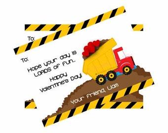 Dump Truck Valentine's Day Card/Boy Valentine's Day Card/Valetine's Card/Construction Valentine's Day Card/DIY Printable File
