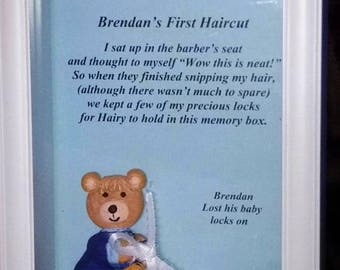 Baby's Hair Keepsake, Baby's First Haircut Shadow Box, Baby's Lock of Hair Keepsake,  First Curl Keepsake Box, First Baby Gift for Parents