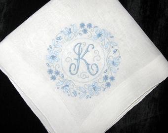 Keepsake Bride Something Blue Wedding, Monogram Hankie Initial Letter K G A M R N D B H or L