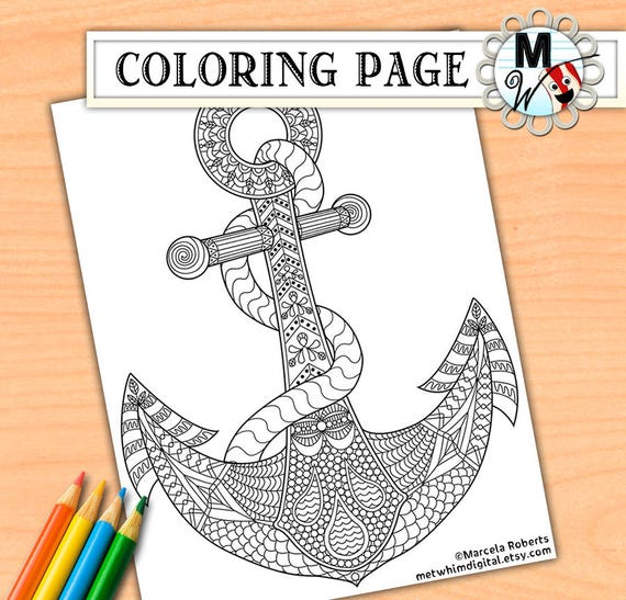 anchor coloring page for adults anchor adult coloring page instant digital download of a printable nautical coloring page - Anchor Coloring Page