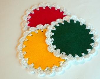 Doily coaster set, lacy home decor, crochet coaster, reggae party decoration, custom coaster