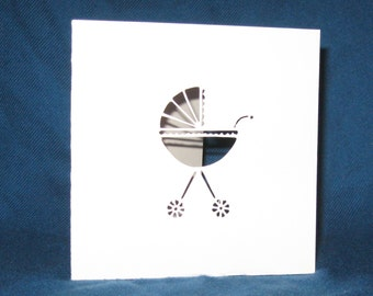Hand Cut Baby Carriage Card