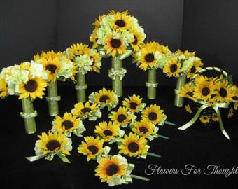 Sunflower Wedding Package, Elegant Bridal Flowers, Made to Order