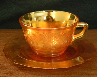 Beautiful Vintage Tea Cup & Saucer by Federal Glass in the Normandie Pattern