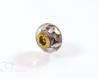 Mauve bracelet bead - european charm Murano glass bead - Gold charm bead - sterling silver large hole charm, unique gift for women