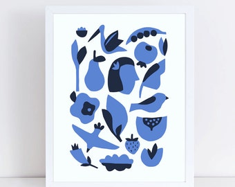 Scandinavian art, mid century art, blue artwork, bird prints, flower, girl, silhouette, modern art, minimalist art, scandinavian print