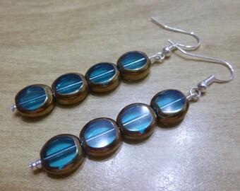 Turquoise Dangle Earrings, Earrings, Crystal Earrings
