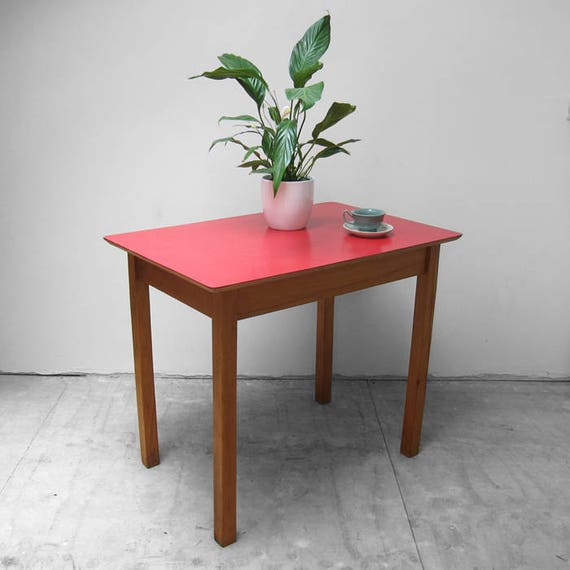 Red Formica Dining Table Vintage Mid Century Kitchen Kitsch