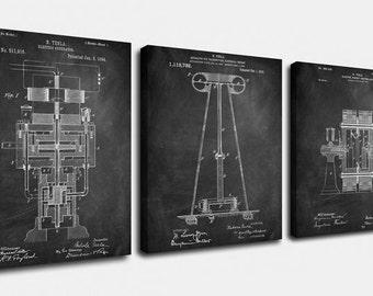 Nikola Tesla Electric Canvas Art,Patent Print Poster,Patent Print Art,Home Decor,Patent Wall Art,Vintage Art,Vintage Patent Set [PPES0032-C]