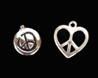 Heart And Round Peace Sign Charms In Silver Tone, Set of 2
