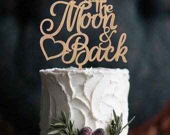 Wedding cake topper Wooden Cake Topper Moon Cake Topper Wood Cake Topper Name Cake Topper personalized topper rustic custom decoration decor
