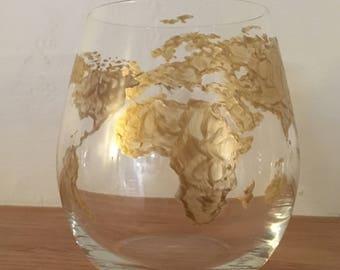 Stemless World Map Wine Glass