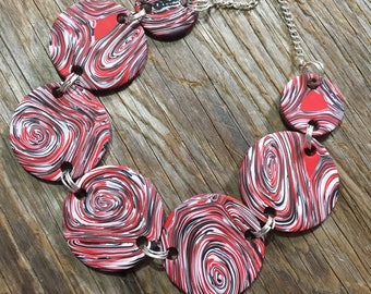 Sansa - Bold Unique Red Swirling Statement Necklace