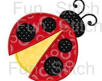 Ladybug applique machine embroidery design instant download