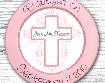Personalized Baptism & Communion Plates- Personalized Ceramic Plate- First Communion Gift - Baptism Gift - Baptism Plate - Communion Plate