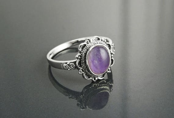 NATURAL Amethyst Ring, Sterling Silver, Real Purple Amethyst Gemstone, Dainty Violet Stone Ring, Midi Oval Ring, Antique Victorian Jewelry