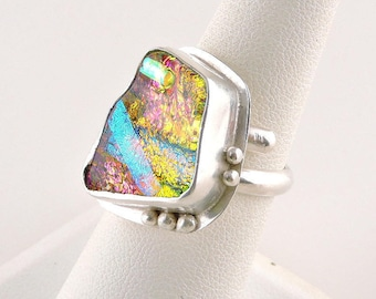 Size 7 Adjustable Sterling Silver Dichroic Glass Ring