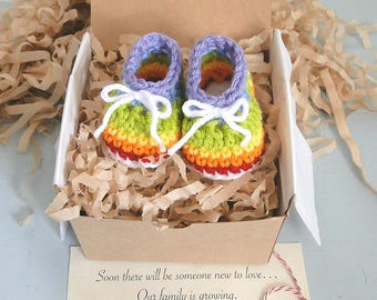 Grandparent Pregnancy Announcement, Baby Announcement,  BOOTIES IN A BOX® Baby Bootie Reveal, Newborn Booties, Rainbow Booties, Ships Fast