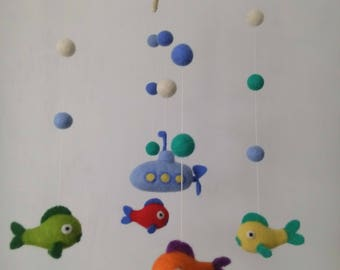 Needle Felted Baby Mobile, Felted Fish Mobile, Nursery Mobile,  Felted Mobile,  Fish baby Mobile,  Blue Submarine, Needle felted fish.