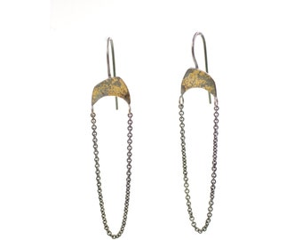 Dangle Sterling Silver and 18 Karat Gold Raining Chain Fused Gold Eco Friendly Earrings
