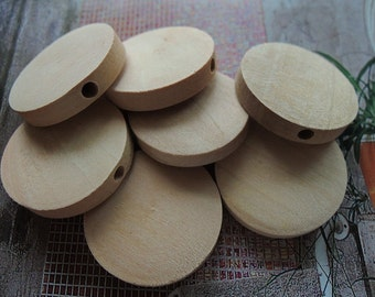 20 Pcs 20mm Natural Wood Circles Wooden discs Unfinished round disk  Bead  (W154)