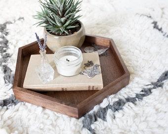 Walnut Hexagon Tray for Table Ottoman Bed Vanity Wooden Hexagon Serving Tray Handmade