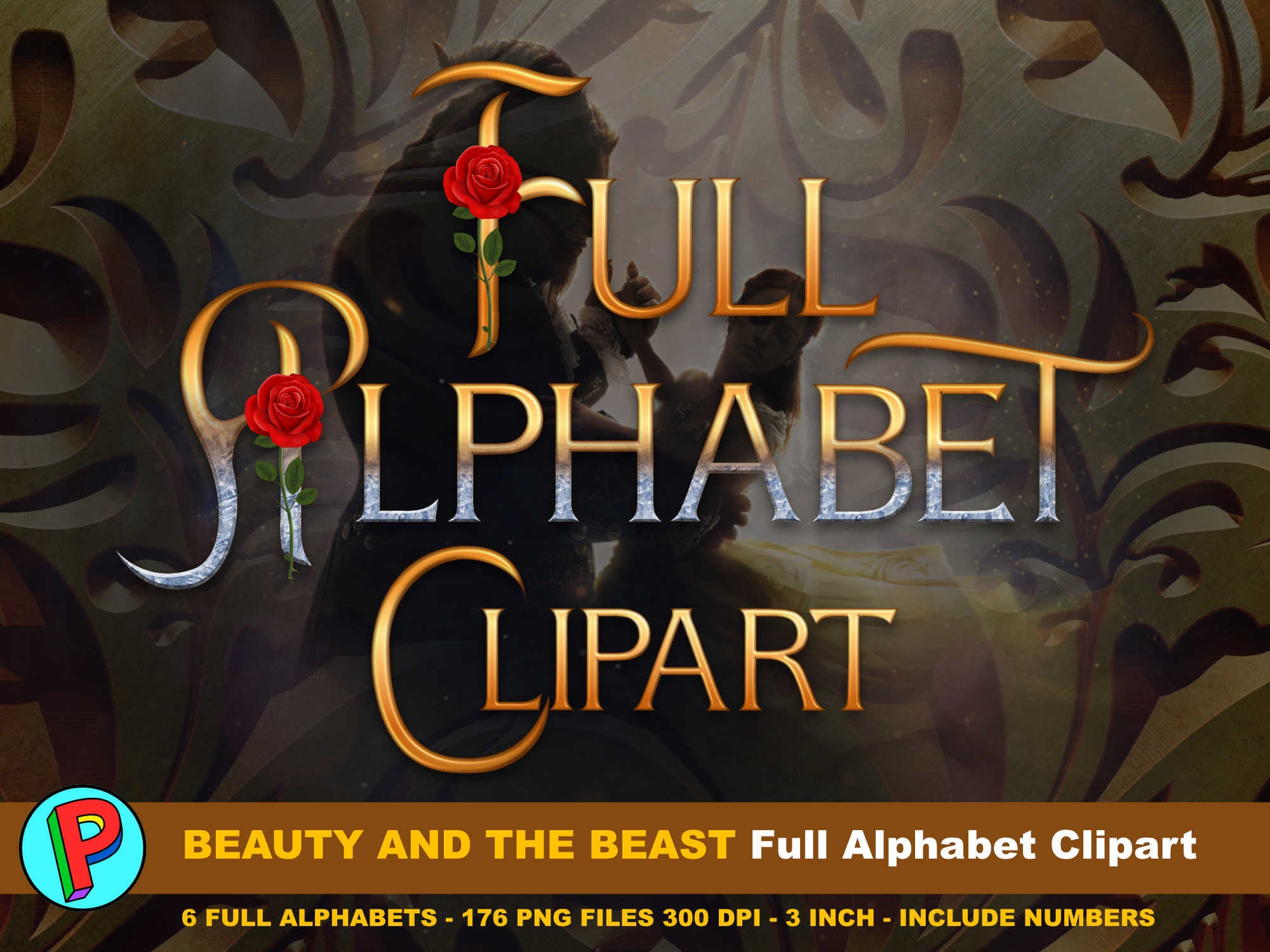 Beauty and the Beast Movie 2017 Full Alphabet Clipart 6