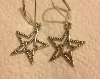 Beautiful Double Star Earrings - silver with lever backs