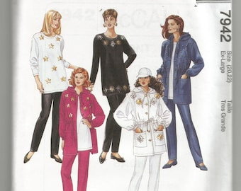 7942 McCalls Sewing Pattern Unlined Jacket Tunic Pants UNCUT Plus Size ExLarge 20/22