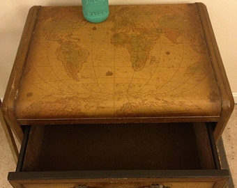 Reserved- SALE-World Map End Table or Nightstand, Storage Trunk, World Map Decor, Rustic Table, Leather Trunk