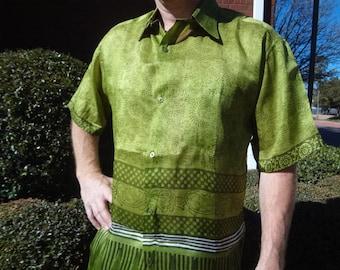 Men's Handmade Woven Sari Silk Button Down Pocket Shirt - Tree Green - Midas G738