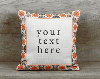Coral custom cross stitch needlepoint pillow, initial cushion cover, needlepoint embroidery personalized pillow case 12 x 12 inch (32 x 32)