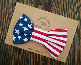 Red white blue hair clip headband bow tie