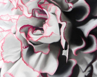 Flower Painting Original Fine Art ~ Pastel Carnation Floral Art ~ Black and White with Pink Trim